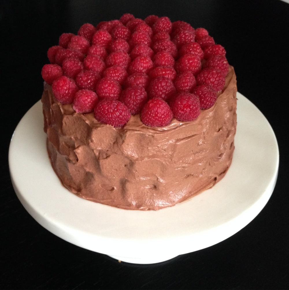 tårta choklad hallon