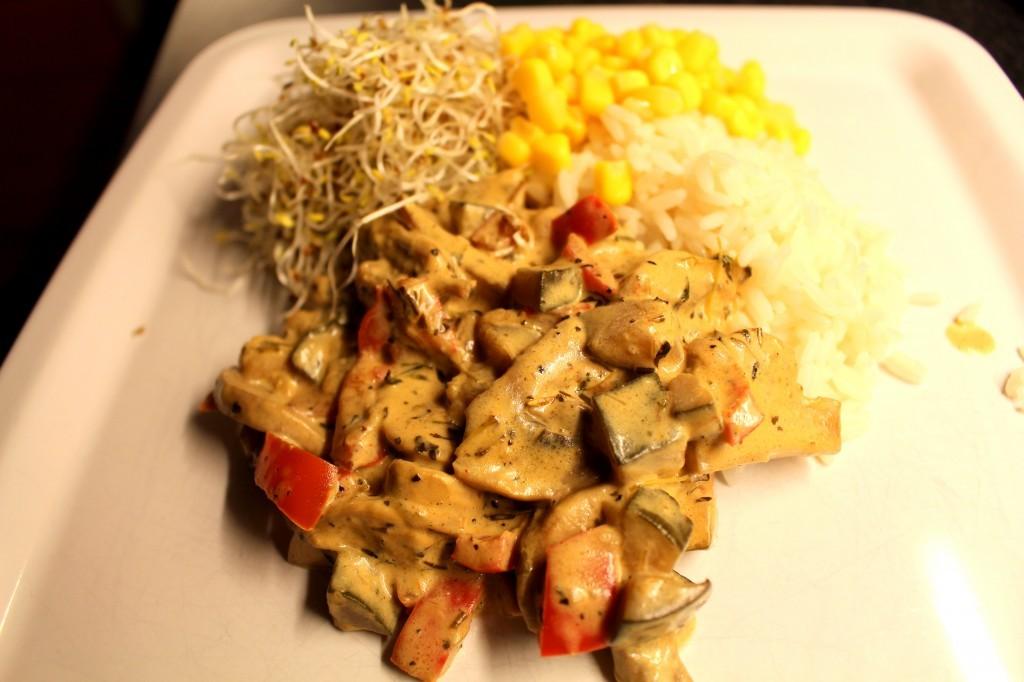 vegetarisk rätt med ris