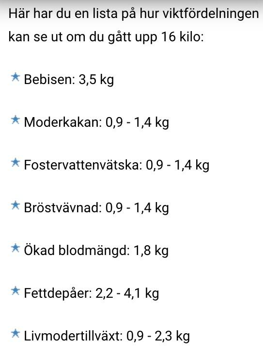 hur mycket viktuppgång gravid
