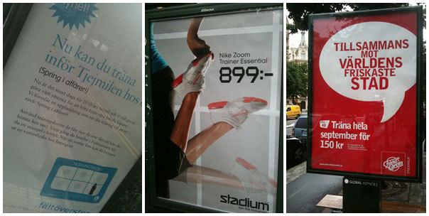 Reklamskyltar under dagens promenad.