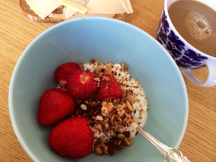 Jordgubbar till frukost