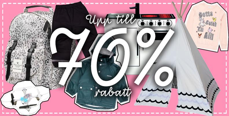 Få upp till 70% rabatt på barnkläder, leksaker och inredning här!