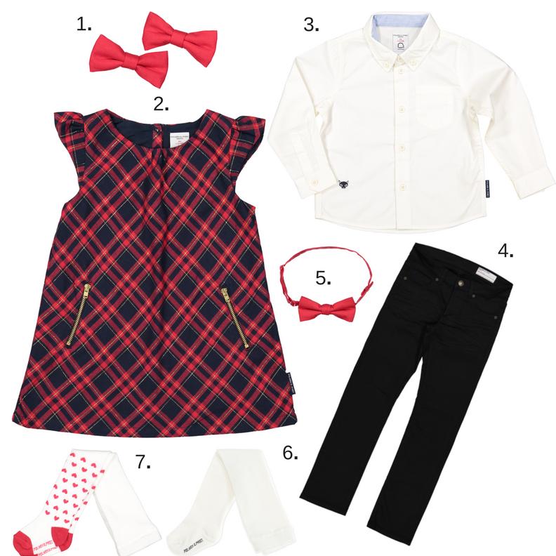 0dc40bffb141 1. 2-pack hårspännen. 2. Rödrutig klänning. 3. Vit skjorta med broderat  rävansikte. 4. Svarta jeans. 5. Röd fluga. 6. Vita strumpbyxor. 7.